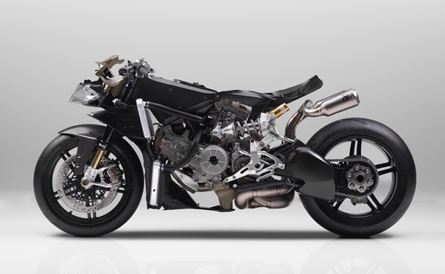That's a lot of carbon fiber. The Superleggera has a carbon fiber frame, subframe, swingarm, wheels and bodywork.