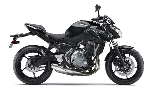 The 2017 Kawasaki Z650 ABS in Metallic Flat Spark Black/Metallic Spark Black.