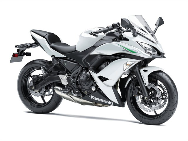 2017 Kawasaki Ninja 650 in Pearl Blizzard White.