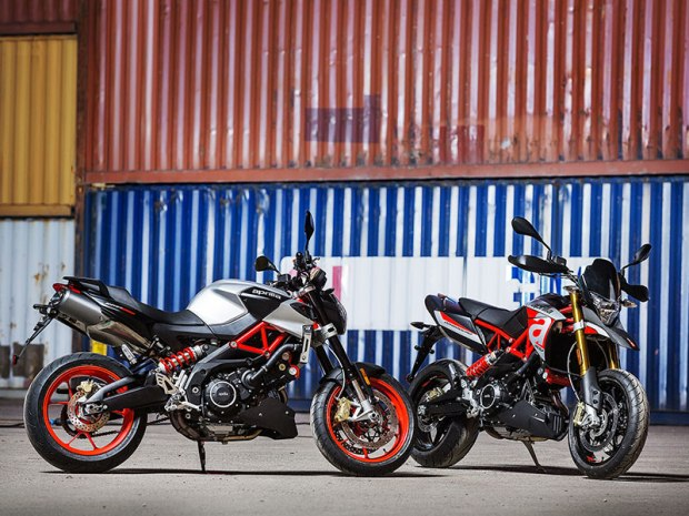 Updated for 2017, the Aprilia Shiver 900 (left) and Dorsoduro 900 (right) feature a larger, 896cc V-twin, new electronics and more.