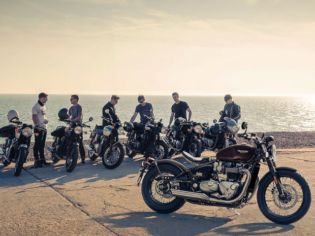 You can see the new 2017 Triumph Bonneville Bobber (foreground) and the rest of the Bonneville family at stops on the Brutal Beauty Tour.