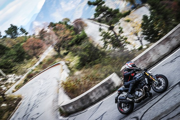 The Ducati Monster 1200 S felt right at home on the serpentine roads of the Maritime Alps.