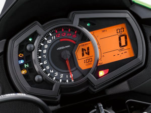 The Kawasaki Versys-X 300 has an analog tach and an LCD display with gear position, speed, clock, fuel level, trip/odo and more.