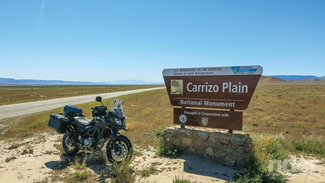 A good run for an adventure bike are the many dirt roads criss-crossing California's Carrizo Plain National Monument; the Crocker Grade is a bit of a challenge.