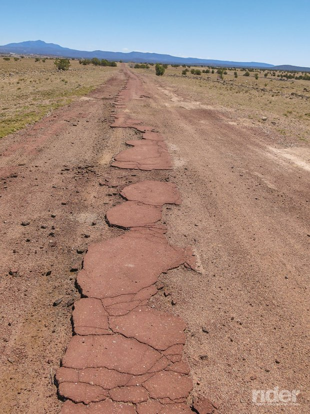 That's a stretch of old U.S. Route 66, west of Ash Fork, Arizona, which was abandoned in the 1950s when the road was moved a quarter-mile north. (Photos by the author)