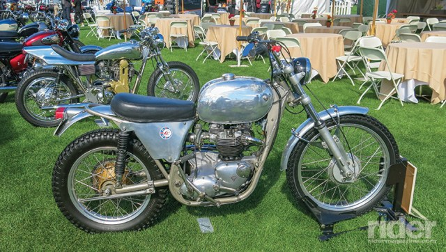 That's an interesting bike in the front, a 1971 Eric Cheney frame housing a Triumph 650 engine. But more important is what is in the back, one of the two dining areas where an absolutely scrumptious lunch would be served, which was included in the price of admission.