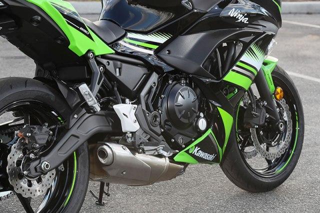 2017 Kawasaki Ninja 650 engine and swingarm