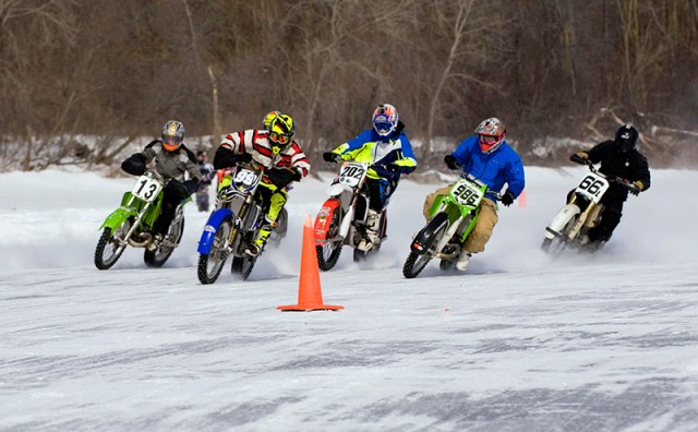 In the U.S. and Canada, ice racers typically use dirt bikes with knobby tires studded by hand, or dedicated ice racing studded tires by companies like Fredette Racing or Marcel Fournier. (Image courtesy of the American Motorcyclist Association)