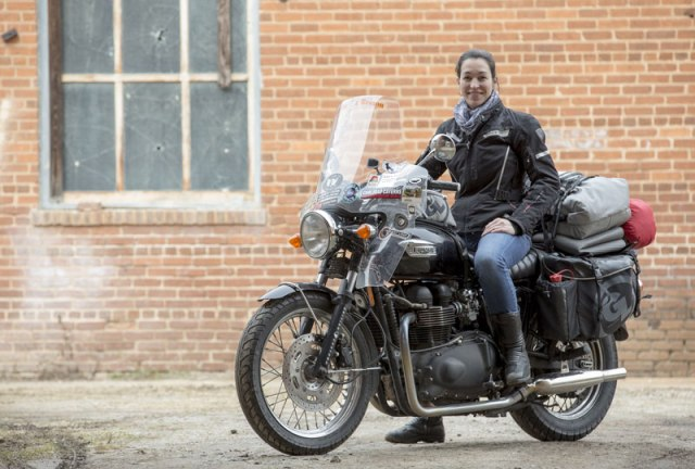 Guinness World Record Holder Danell Lynn, on her Triumph Bonneville.