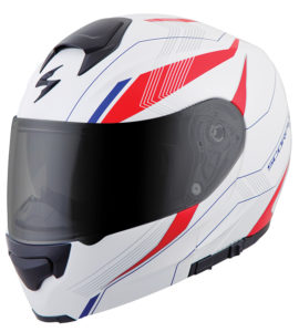 Scorpion EXO-GT3000 Modular Helmet in the Sync White graphic.
