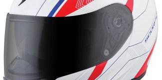 Scorpion EXO-GT3000 Modular Helmet in the Sync White graphic.