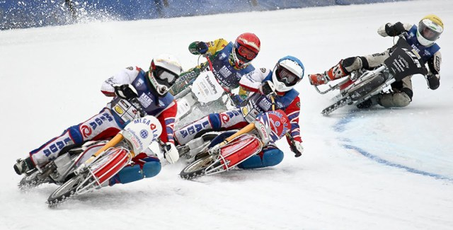 European ice racers ride 500cc Speedway bikes fitted with spiked tires, allowing them to reach incredible lean angles. (Image by Eisspeedway Journal)