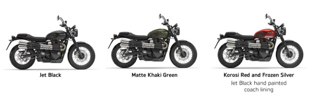 The 2017 Street Scrambler will be available in three colors.