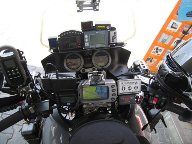 """The cockpit of a Suzuki V-Strom with what might be considered """"too many"""" farkles..."""
