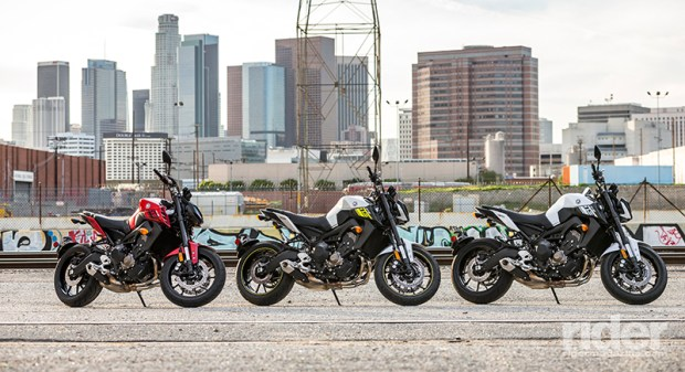 The 2017 Yamaha FZ-09 comes in three colors: Candy Red, Matte Silver with Neon Yellow and Intensity White.