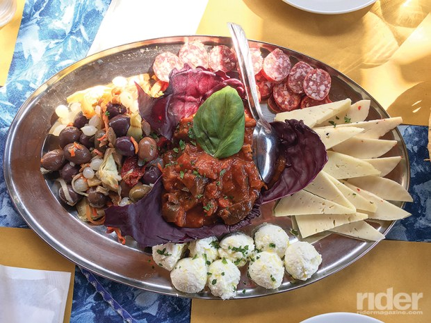 This antipasto platter, which was accompanied by fresh baked rustic bread, was the first of several we enjoyed on a patio overlooking a lush valley.