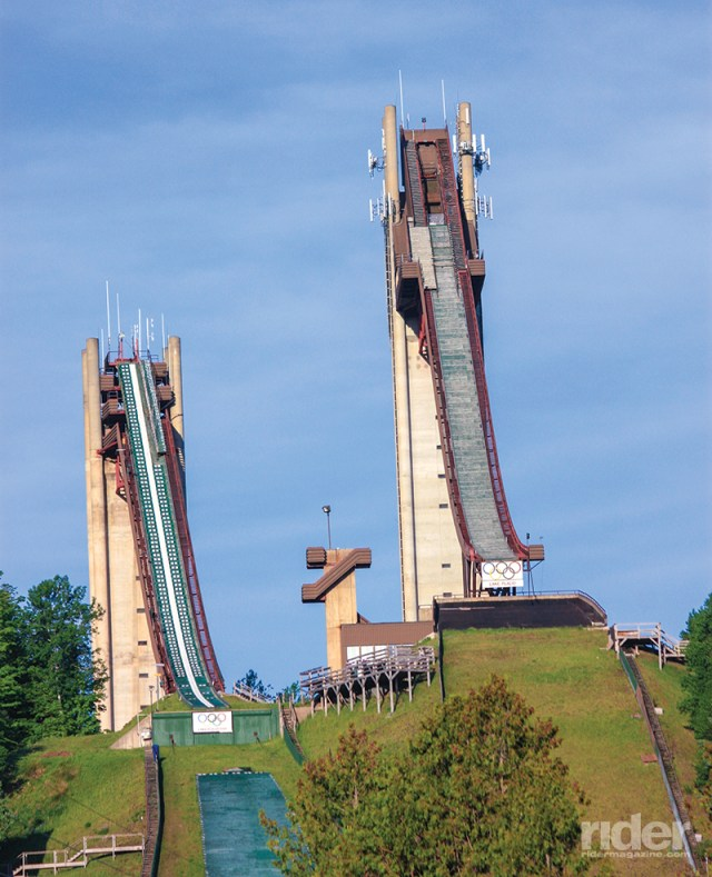 The Lake Placid Olympic ski jumps are easily viewed from River Road. An elevator to the observation deck of the 120-meter jump affords a panoramic view of the Adirondack High Peaks.