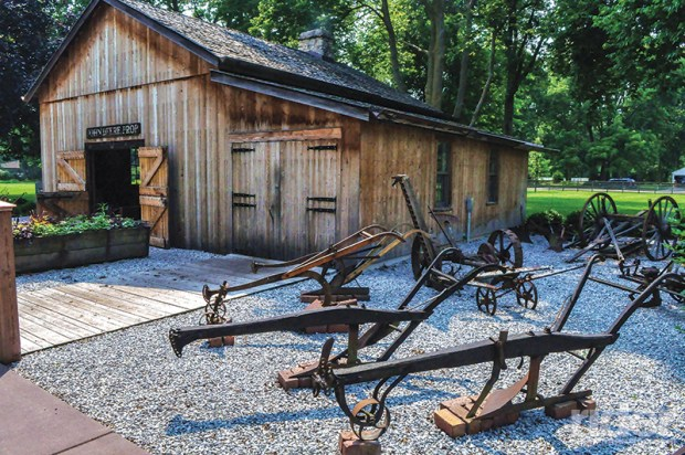 "John Deere's blacksmith shop: birthplace of the steel plough that ""busted the sod"" of the U.S. Midwest."