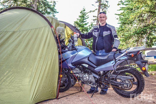 When staying somewhere more than one night, instead of my bivy sack I'd set up the Redverz Expedition tent, which provides shelter for me and my bike.