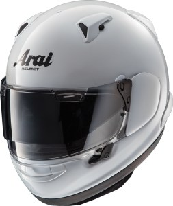 Arai Quantum-X in Glass White, with Pro Shade in lowered position.