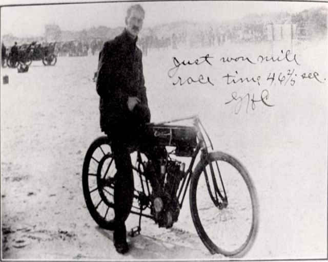 Glenn. H. Curtiss just after setting a speed record for the two cylinder class