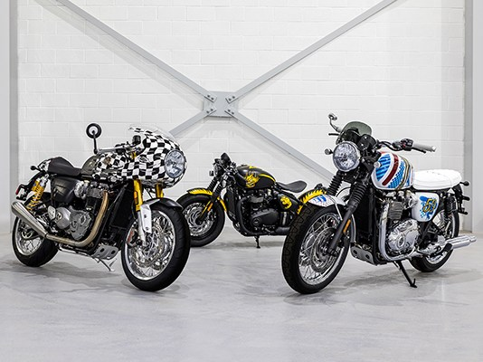 Triumph Bonnevilles customized by artist D*Face. From left: Thruxton R, Bobber and T120.