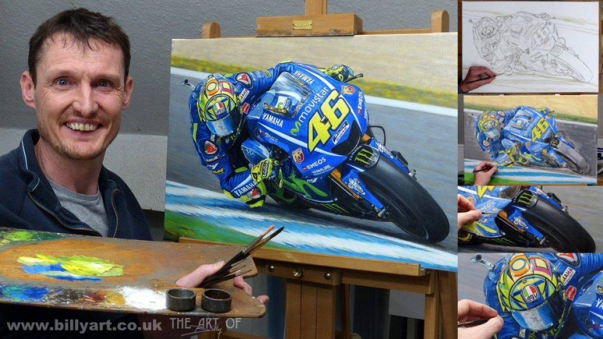 Valentino Rossi 2017 MotoGP- oil painting by Billy