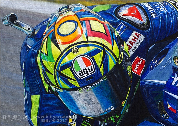 Valentino Rossi 2017 MotoGP oil painting by Billy detail 1
