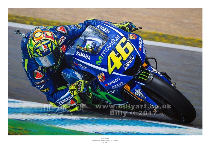 Valentino Rossi 2017 MotoGP oil painting by Billy