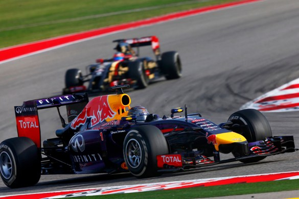 AUSTIN, TX - NOVEMBER 02:  Sebastian Vettel of Germany and Infiniti Red Bull Racing drives during the United States Formula One Grand Prix at Circuit of The Americas on November 2, 2014 in Austin, United States.  (Photo by Andrew Hone/Getty Images) *** Local Caption *** Sebastian Vettel