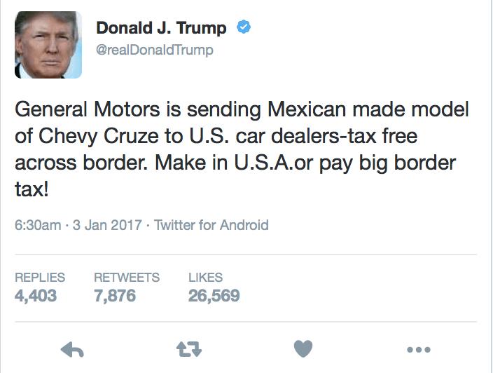 President Elect Donald Trump Trolls Gm On Twitter Rides Drives