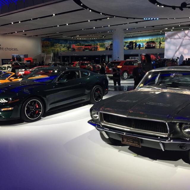 The original Bullitt Mustang with the 2018 tribute car fordhellip