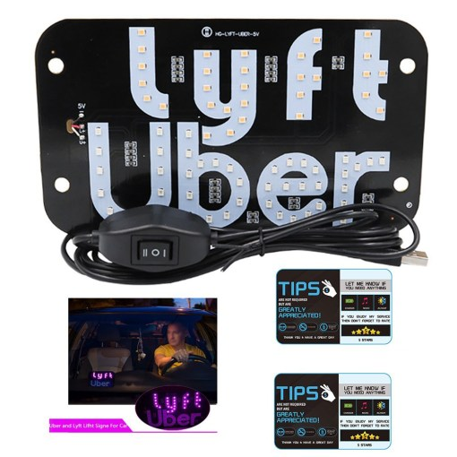 Both Uber & Lyft Two Light Sign in One Panel with USB Interface+2pack 9×6 Inch Premium Thick Laminate 30 Mil Durable Backseat Headrest Display Card