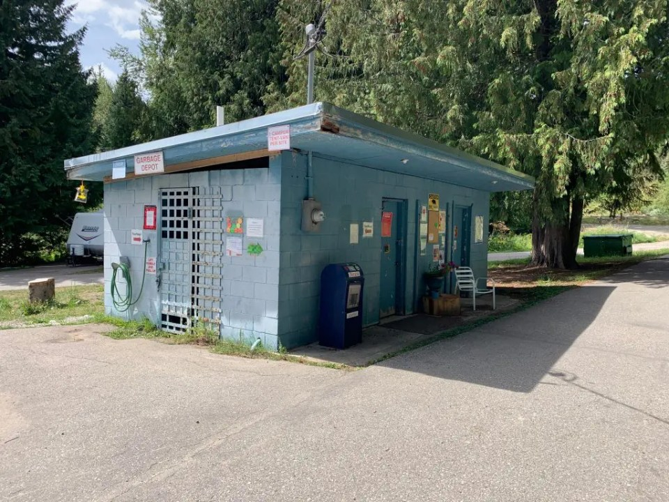 Rossland Lions Community Campground garbage and recycling building