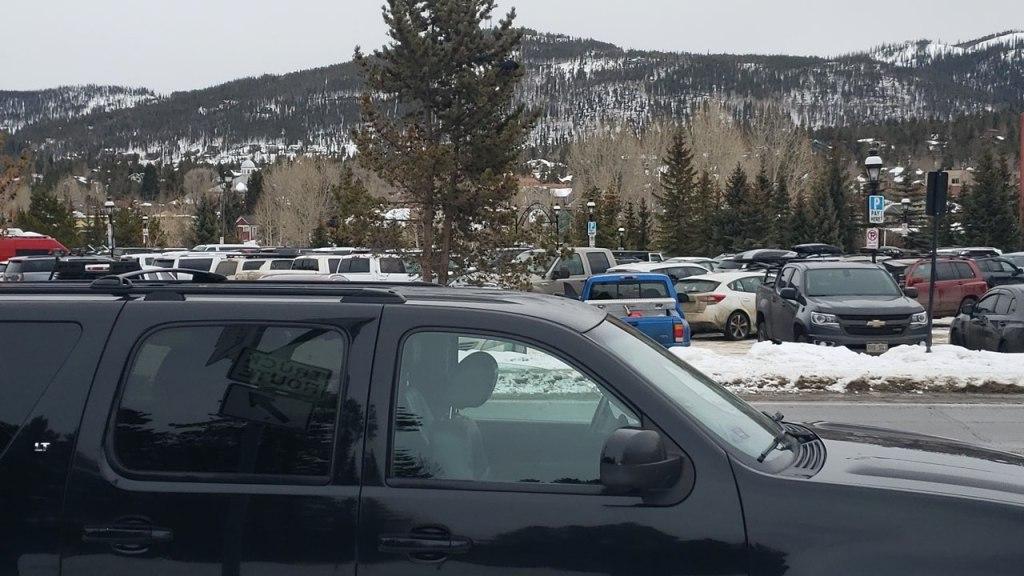 Black SUV by the main Breckenridge ski parking lot