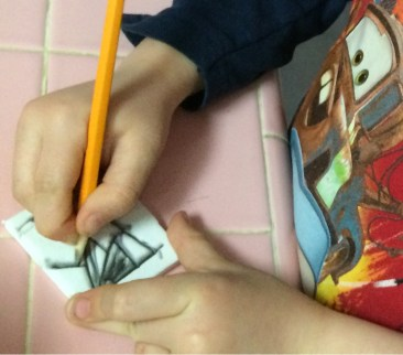 5 year old makes a stamp- web