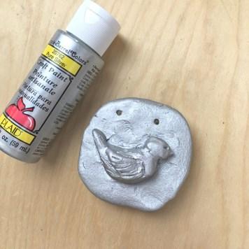 Silver Cornstarch clay bird- web