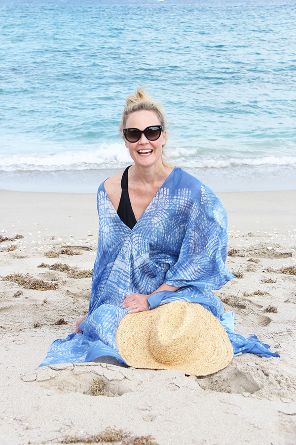 Ridgely Brode loves to wear a beach poncho at the beach and shares her new favorite, blue of course, on her blog Ridgely's Radar.