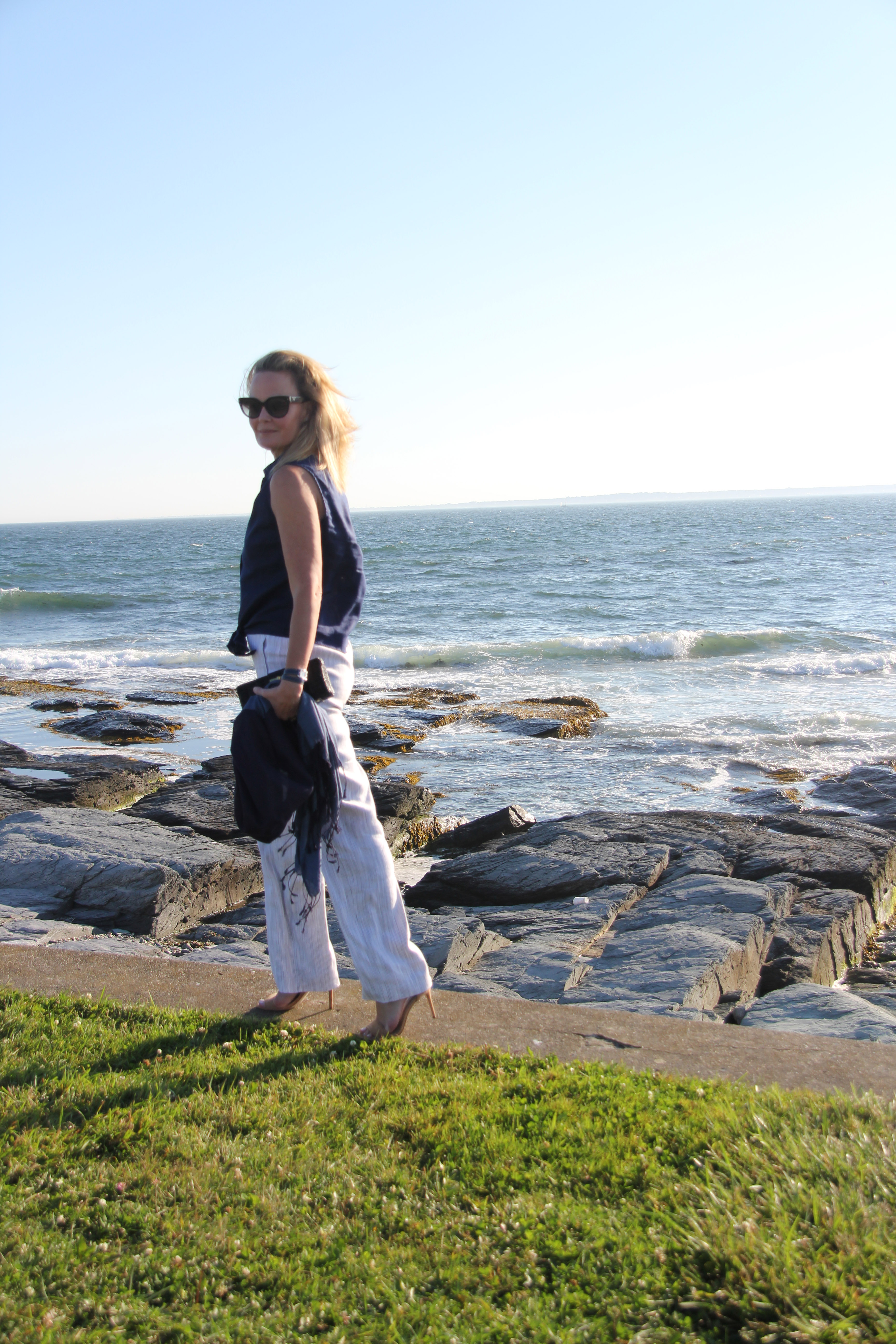 Ridgely Brode breaks out of her regular dress and white jeans look and wears striped linen pants with a tie-waisted blouse on her blog, Ridgely's Radar.
