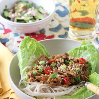 Honey Sesame Pulled Pork Slow Cooker and Thai Cucumber Salad
