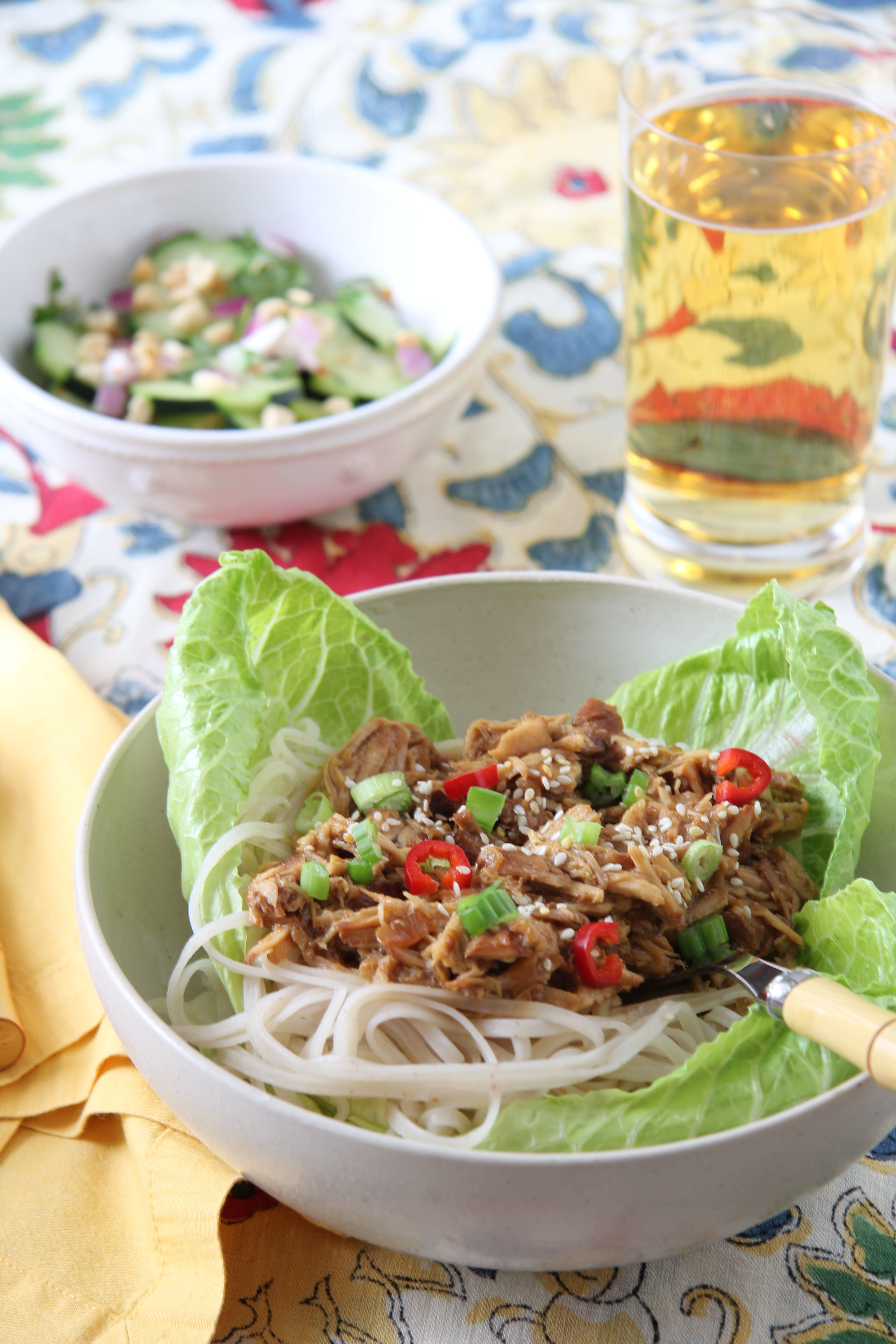 Looking for a new recipe, Ridgely Brode and her husband made Honey Sesame Pulled Pork Slow Cooker and Thai Cucumber Salad.