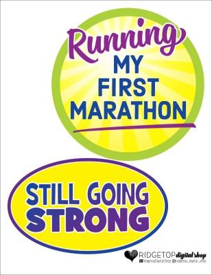 Ridgetop Digital Shop | Friday Freebie | Running 1st Marathon | Printable Props