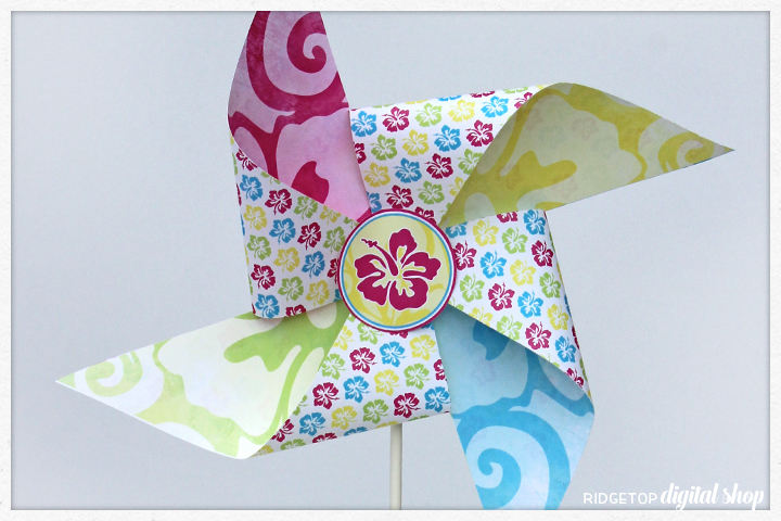 Ridgetop Digital Shop | Friday Freebie | Tropical Hawaiian Luau Free Printable Pinwheel | Moana | Lilo and Stitch