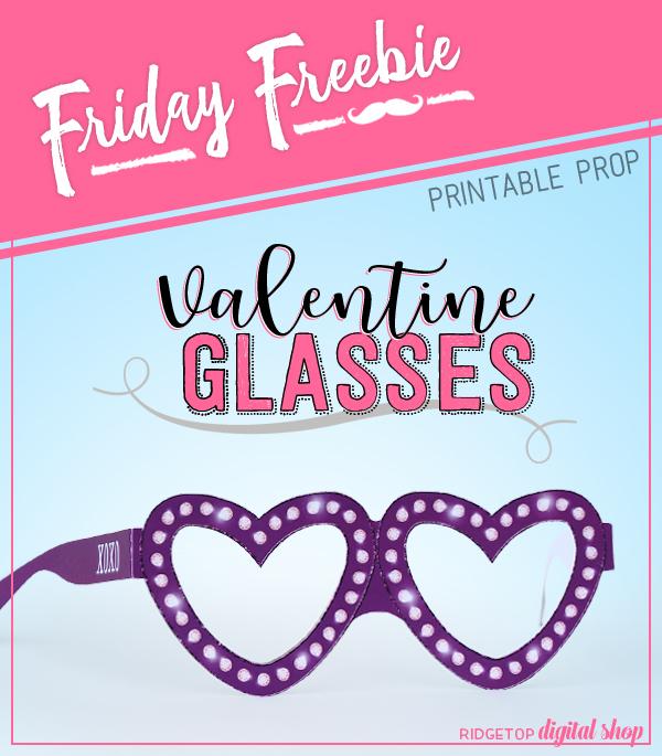 Valentine Glasses Free Printable | Bachelorette Party Free Printable Purple | Purple Photo Booth Prop | Ridgetop Digital Shop