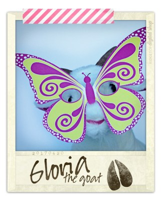 Ridgetop Digital Shop | Friday Freebie | Butterfly Mask Free Printable | Gloria the Goat