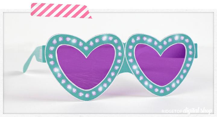 Turquoise Heart Glasses Free Printable | Ridgetop Digital Shop