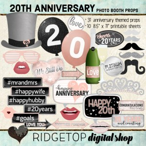 Ridgetop Digital Shop | 20th Anniversary Photo Props | Anniversary Photo Booth | Rose Gold