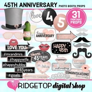 Ridgetop Digital Shop | 45th Anniversary Photo Props | Anniversary Photo Booth | Rose Gold