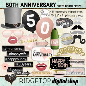 Ridgetop Digital Shop | 50th Anniversary Photo Props | Anniversary Photo Booth | Rose Gold