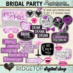 Ridgetop Digital Shop | Bachelorette Party - Purple Photo Props | Bridal Shower Photo Booth | Hen Party